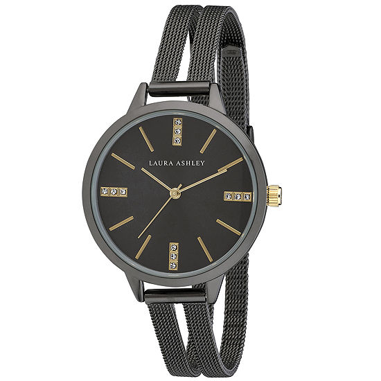 Laura Ashley Womens Black Stainless Steel Strap Watch-La31054bk
