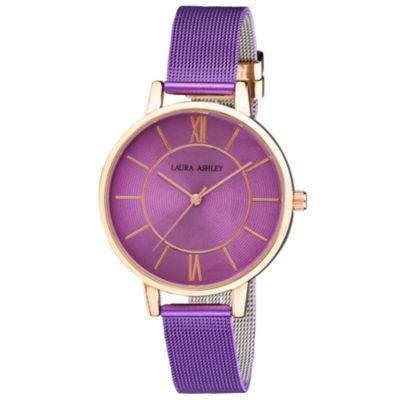 Laura Ashley Womens Purple Strap Watch-La31073pur