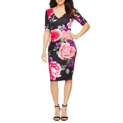 Premier Amour 3/4 Sleeve Floral Sheath Dress