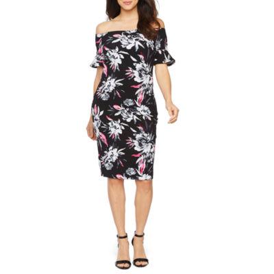 Premier Amour Short Sleeve Off The Shoulder Floral Sheath Dress