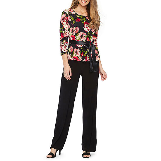 Be By Chetta B 3 4 Sleeve Belted Jumpsuit