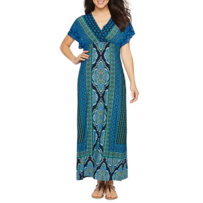 London Times Short Sleeve Geometric Maxi Dress