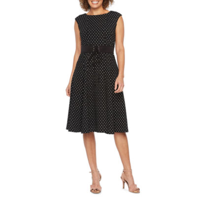 Danny & Nicole Sleeveless Dots Fit & Flare Dress