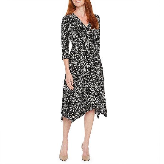 Perceptions 3 4 Sleeve Dots Fit Flare Dress