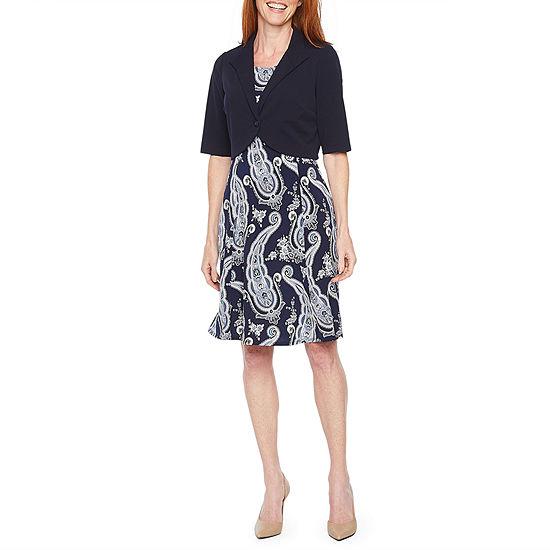 Perceptions Short Sleeve Paisley Jacket Dress