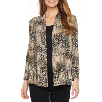 Black Label by Evan-Picone Long Sleeve Animal Print Jacket