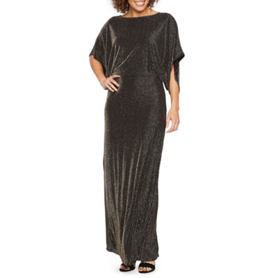 Blu Sage Short Sleeve Glitter Knit Evening Gown
