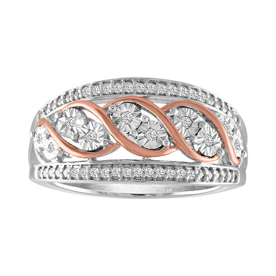 Womens 1 10 Ct Tw Genuine White Diamond Sterling Silver 14k Rose Gold Over Silver Band