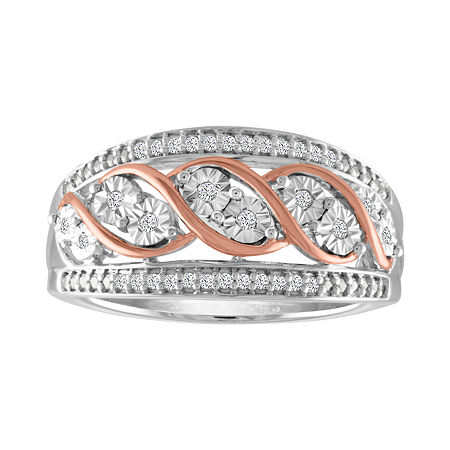 Womens 1/10 CT. T.W. Genuine White Diamond Sterling Silver & 14K Rose Gold over Silver Band, 7