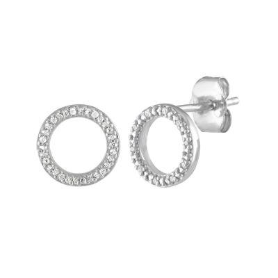 Diamond Accent Genuine White Diamond Sterling Silver 8mm Stud Earrings