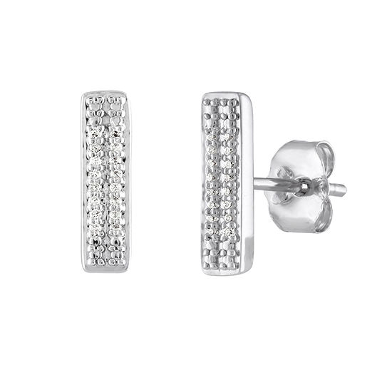 Diamond Accent Genuine White Diamond Sterling Silver 116mm Stud Earrings
