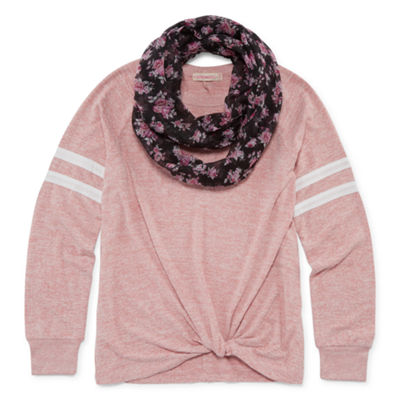 Inspired Hearts Long Sleeve Varsity Knit Top with Scarf - Girls' 4-16
