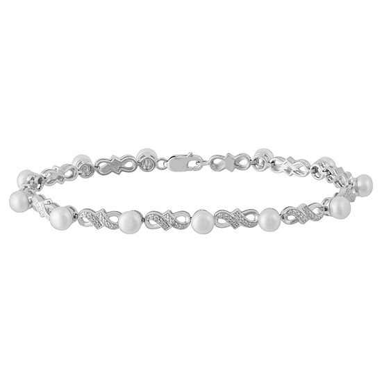 Cultured Freshwater Pearl and Diamond-Accent Bracelet