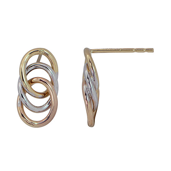 14K Tri-Color Gold 13mm Stud Earrings
