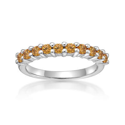 Diamonart Womens 2mm 5/8 CT. T.W. Champagne Cubic Zirconia Sterling Silver Band