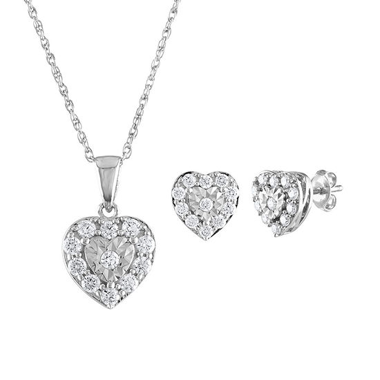 1 CT. T.W. Genuine White Diamond Sterling Silver Heart 2-pc. Jewelry Set
