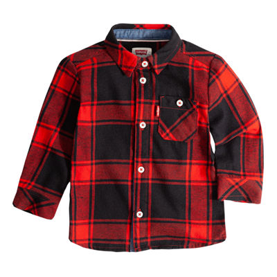 Levi's Woven Long Sleeve Plaid Flannel Shirt-Baby Boys