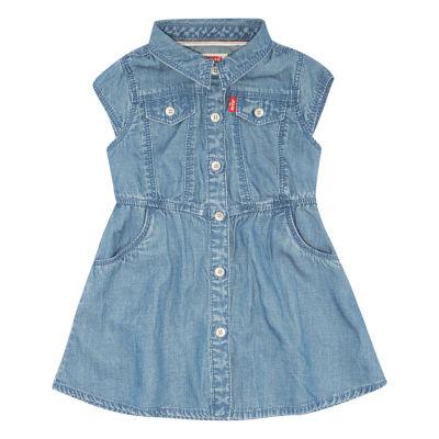 Levi's Parker Woven Dress Short Sleeve Cap Sleeve A-Line Dress - Baby Girls