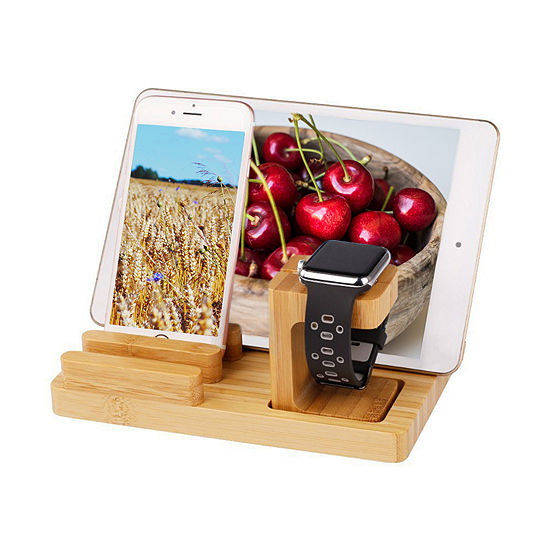 Trexonic Bamboo 4-Port Apple Watch and Iphone Charging Stand with 3 Device Slots and Pen Holder
