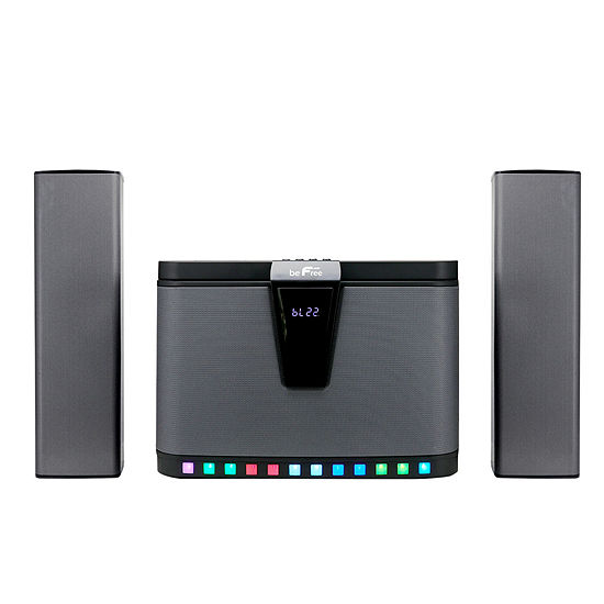 beFree Sound 2.1 Channel Multimedia Wired Speaker System With Sound Reactive LED lights, Remote Control and  Digital Display