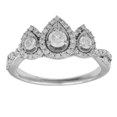 Womens 3/4 CT. T.W. Genuine White Diamond 10K White Gold 3-Stone Engagement Ring