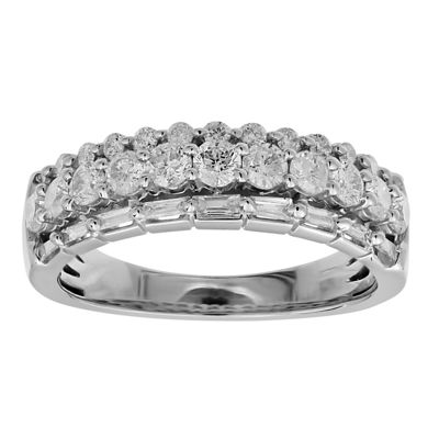 1 CT. T.W. Genuine White Diamond 10K White Gold Band