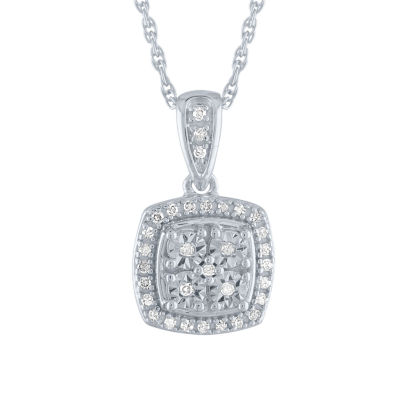 1/10 CT. T.W. Genuine Diamond Pendant Necklace in Sterling Silver