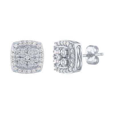 1/4 CT. T.W. Genuine White Diamond Sterling Silver 9.6mm Stud Earrings