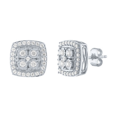 1/2 CT. T.W. Genuine White Diamond Sterling Silver 10.7mm Stud Earrings