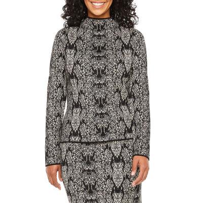 Worthington Womens Mock Neck Long Sleeve Animal Pullover Sweater