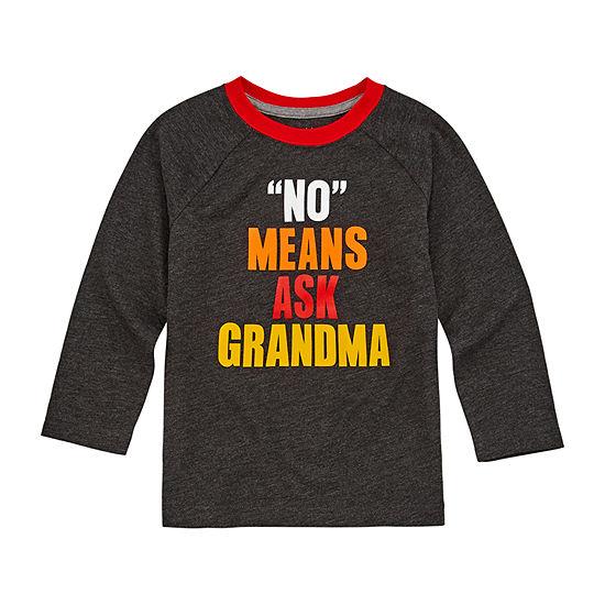 Okie Dokie Toddler Boys Crew Neck Long Sleeve Graphic T-Shirt