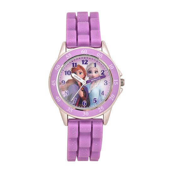 Disney Collection Frozen Unisex Adult Purple Strap Watch-Fzn9505jc