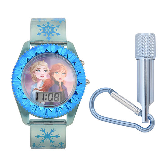 Disney Collection Frozen Girls Digital Blue Watch Boxed Set-Fzn45024jc