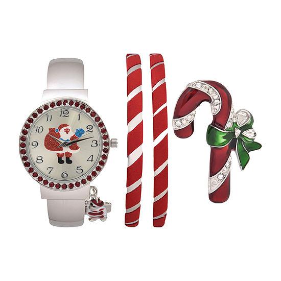 Mixit Holiday Whimsy Santa Claus Womens Silver Tone Watch Boxed Set-Wac7176ajc