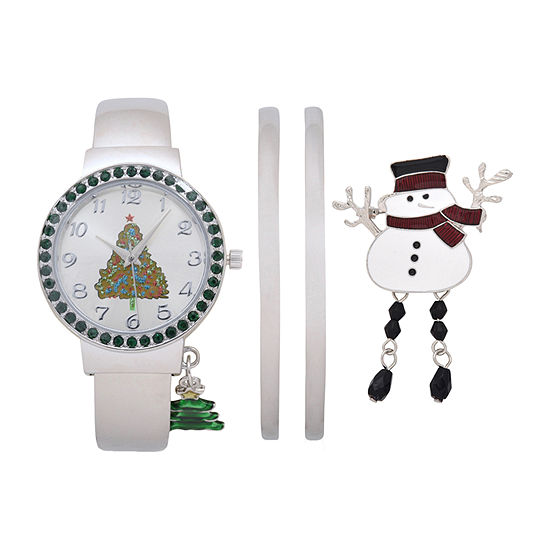 Mixit Holiday Whimsy Christmas Tree Womens White 4-pc. Watch Boxed Set-Wac7175ajc