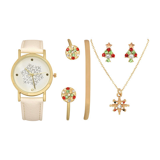 Mixit Holiday Whimsy Womens White Leather Watch Boxed Set-Wac7238jc