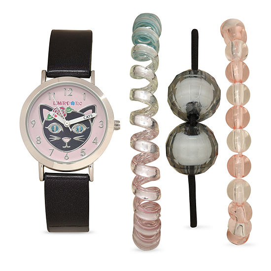 Limited Too Girls Black 4-pc. Watch Boxed Set-Lmt20008jc