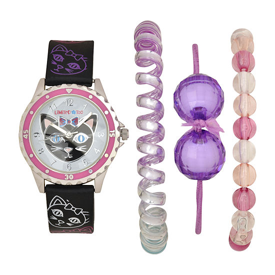 Limited Too Girls Black 4-pc. Watch Boxed Set-Lmt20015jc