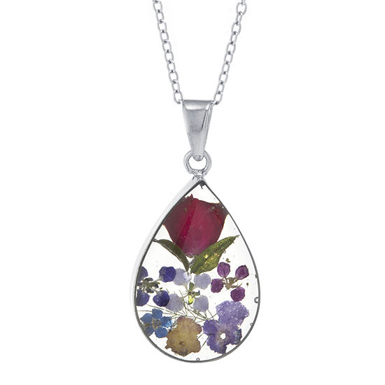 Silver Reflections Everlasting Flower Multi Color Pure Silver Over Brass 18 Inch Cable Pear Pendant Necklace
