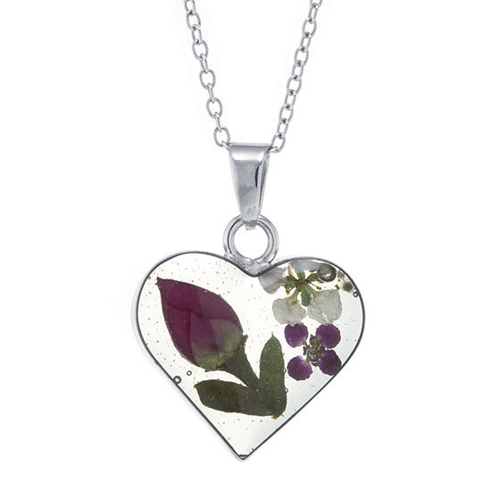 Silver Reflections Everlasting Flower Multi Color Pure Silver Over Brass 18 Inch Cable Heart Pendant Necklace