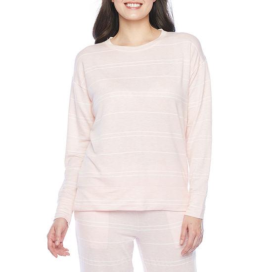 Jaclyn Womens Knit Pajama Top Cuffed Sleeve Crew Neck