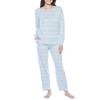 Jaclyn Womens Knit Pajama Top Cuffed Sleeve Crew Neck