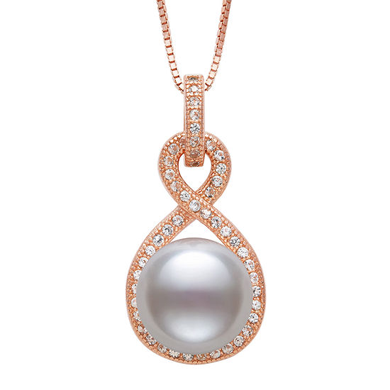 Womens White Cultured Freshwater Pearl 14K Rose Gold Over Silver Pendant Necklace