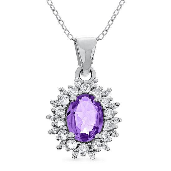 Womens Genuine Purple Amethyst Sterling Silver Pendant Necklace