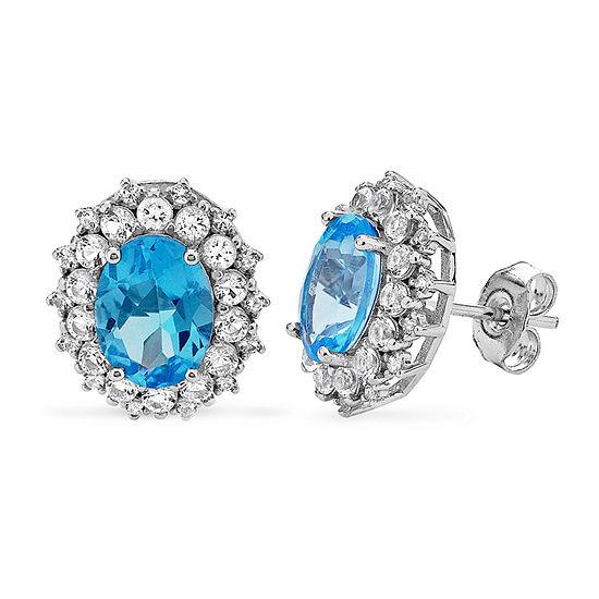 Genuine Blue Topaz Sterling Silver 12.7mm Stud Earrings