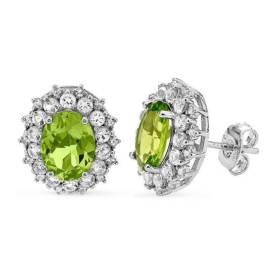 Genuine Green Peridot Sterling Silver 12.7mm Stud Earrings