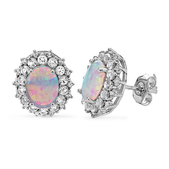 Lab Created White Opal Sterling Silver 12.7mm Stud Earrings