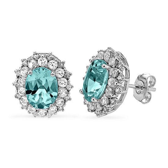 Genuine Blue Aquamarine Sterling Silver 12.7mm Stud Earrings
