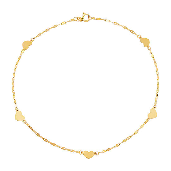 Made in Italy 14K Gold 9 Inch Solid Link Heart Ankle Bracelet