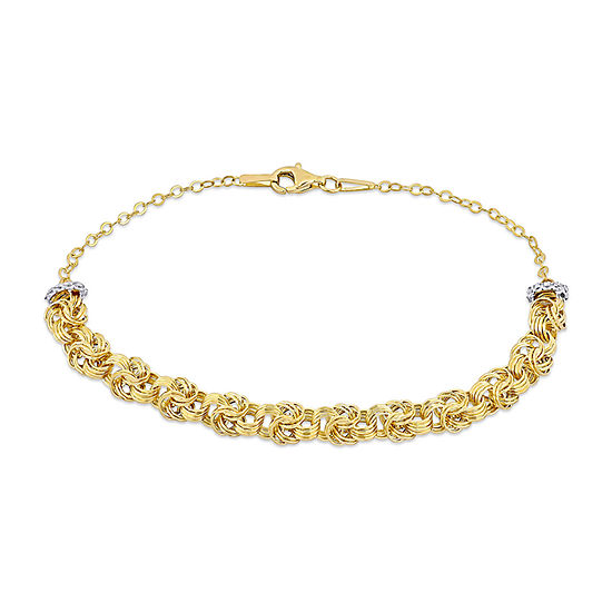10K Two Tone Gold 7.5 Inch Hollow Link Chain Bracelet